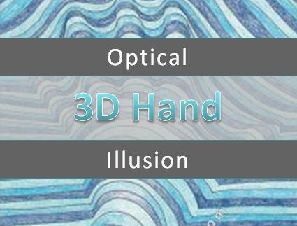 Op Art hand in 3D effect machine embroidery design